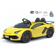 Masinuta electrica pentru copii Noul Lamborghini Aventador, Galben, Licență Originală, Cu Baterii, Uși care se deschid vertical, 2x motoare, Baterie 12 V, Telecomandă de 2.4 GHz, Roți Eva moi, Suspensii, Pornire lentă.