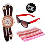 Combo of Brown Silicone Strap Analog Watch For Women Fordable Glasses And 2 Hand Towels