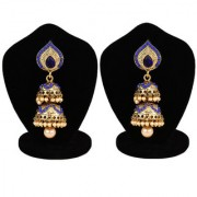 Jewels Gold Alloy Party Wear Fashion Designer Latest Jhumki Earring Set For Women Girls