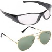 Aligatorr Aviator, Retro Square Sunglasses(Clear, Green)