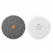 XOOMZ Cloth Texture Portable Fast Charger Wireless Slim Round Shape Charging Mat for iPhone 8/8 Plus Etc. - Grey