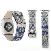 Voor Apple Watch serie 3 & 2 & 1 38mm Retro zijde Canvas + lederen pols horloge Band(Blue)