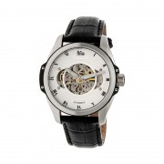 Reign Henley Automatic Semi-Skeleton Leather-Band Watch - Silver/Silver/Black REIRN4503
