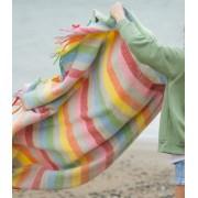 The Mill Plaid Laine Rainbow Gris Rayures Colorées 150 X 183 cm