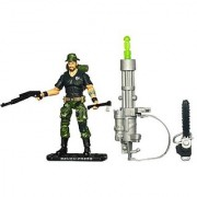 GI Joe Movie Series The Rise of Cobra Exclusive 4 Inch Tall Action Figure - Infantry Combat Specialist BENCH-PRESS with Backpack Booney Hat Chainsaw Shotgun Hatchet Missile Launcher with Green Missile and Display Stand