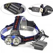 Lanterna Frontala Pescuit cu USB, LEDuri 3W si Acumulatori MXK83T6