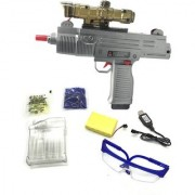 Emob Mini UZI Regimental Shooting Machine Gun Toy with 5000 Cyrstal Bullets and Real Sound Effects (Multicolor)