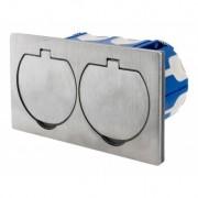 Doppelbodensteckdose HBF 135145-PL IP 55 aus gebürstetem Aluminium für Küche, Büro oder Terrasse