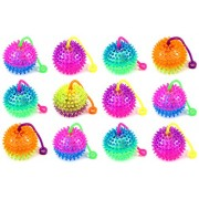 Set of 12 Light Up LED Dual Color Spiked Ball Childrens Kids Toy Yoyo Ball (Colors May Vary)