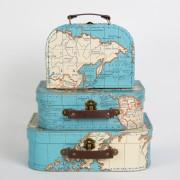 wereld kado - Koffertje met vintage wereldkaart – middel | Sass & Belle