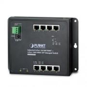 PLANET IP30, IPv6/IPv4, 8-Port 1000TP + 2-Port 100/1000F SFP Wall-mount Managed Ethernet Switch (-40 to 75 C), dual redundant power input on 12-48VDC / 24VAC terminal block and power jack, SNMPv3, 802.1Q VLA