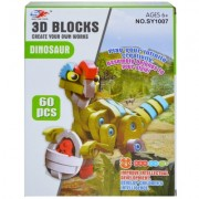 Joc creativ 3D burete 60 piese Dinozaur