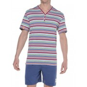 Hom Комплект мужской комфортной домашней одежды (синие шорты + футболка в цветную полоску) HOM Vintage 04189cR1