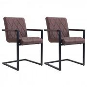 IDIMEX Lot de 2 chaises TARENT, en synthétique brun
