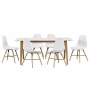 [en.casa]® Set de comedor de mesa con 6 sillas blancas - mesa de cocina 180x80 bambú