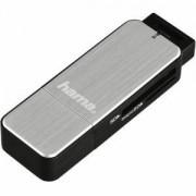 Четец за карти HAMA 123900, USB 3.0, SD/microSD, Сребрист, HAMA-123900