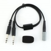 Airbus 6-pin female to Boeing double plug + microphone sponge For Bose A20 for Lemo 6 pin general aviation