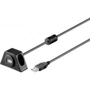 Cablu prelungitor USB 2.0, mufa tata USB A - mufa mama USB A, 0.6 m, negru, Goobay