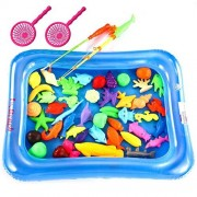 MAGICMAI 42 Pieces Fishing Toys Waterproof Magnetic Floating Fish Toys, Bath Fishing Toy in Bathtub, Magnetic Double Fishing Rod with Pool Learning Education Toy Set for Kids
