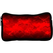 Snoogg Heart Poly Canvas Student Pen Pencil Case Coin Purse Utility Pouch Cosmetic Makeup Bag