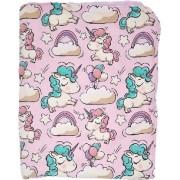 Paturica de copii din bumbac cu unicorni si cherry flanel culoare roz