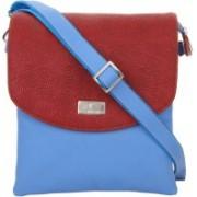 K London Women Casual Blue, Red Leatherette Sling Bag