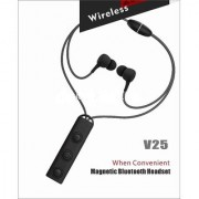 Bluetooth Headphones V25 Best Wireless Sports Earphones Mic HD Stereo Sweat-Proof in Ear Earbuds Black