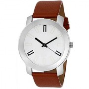 LEBENZEIT White Dial Brown Leather Belt Boys Wrist Watch For Men ABXWhiteDialBrownMenVR