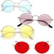 kingsunglasses Round Sunglasses(Yellow, Pink, Blue, Violet, Red)