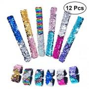 12Pcs Double Colors Sequin Slap Bracelets Party Wrist Strap for Kids Party Favors 01-12 Style
