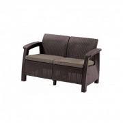 Corfu love seat, barna színben, meleg taupe párnával