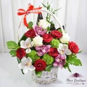 Cos floral Trandafiri si Orhidee Cymbidium