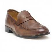 HATS OFF ACCESSORIES Tan Burnish Leather Classic Loafers Shoes For Mens