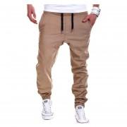 Hombres Elástico Trotar Pantalones Deportivos (Marrón)