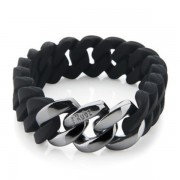 The Rubz Natural Silicone 15mm Unisex Bracelet Black & Gunmetal