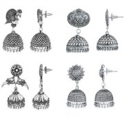 Spargz Oxidized Style Silver Plated 4 Pair Jhumka Earrings COMBO 602