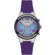 GUESS Purple Silicone Round Dial Analog Watch For Women (W0773L4)