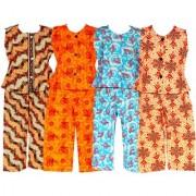 Wajbee Trendy Girls Cotton Night Suit Set of 4