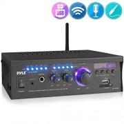 Pyle PCAU46BA Amplificador inalámbrico Bluetooth para el hogar, 2 x 120 W, Sistema Receptor de Audio Bluetooth con visualización LED Azul, USB/SD, AUX, RCA, Conector para Auriculares
