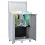 vidaXL Градински кош за боклук с 3 торби, светлосив, 65x38x102 см