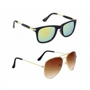 HH Stylish Green Wayfarer And Brown Aviator Sunglasses For Mens Womens And Boy