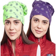 Vimal-Jonney Printed Green And Purple Beanie Cap For Women(Pack Of 2)