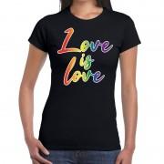Bellatio Decorations Love is love gay pride t-shirt zwart voor dames