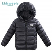 Kidsweety Kids Down Jacket Letter Pattern Boys Long Sleeve Hooded Coat Child Straight Zipper Girls Print Casual Kid Down Jacket