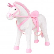 vidaXL Stojeći Plišani Jednorog Igračka Bijelo Ružičasti XXL