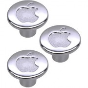 Doyours Chrome Apple Cabinet Knob White Metal - Set of 3