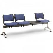 Kovo Praktik RAUMAN Čalouněné lavice SMART, 3-sedák + stolek, chromované nohy šedá
