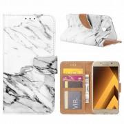 Marmer print lederen Bookcase hoesje voor de Samsung Galaxy A5 2017 - Wit