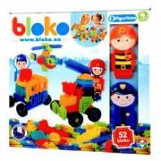 Set de construit BLOKO Tepi 52 piese cu doua figurine politist si pompier STEM Education