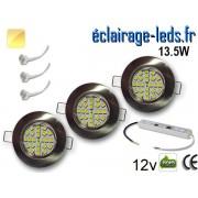 Kit Spot MR16 fixe chrome 21 LED Blanc chaud perçage 60mm 12V ref kmr16-08
